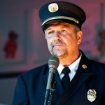 Leukemia survivor Ex-Capt. John Popeleski PWFD shares the story of his diagnosis, treatment and recovery with the assembled attendees of Relay For Life 2012.